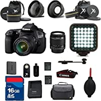Canon EOS 60D DSLR Camera Body 18-55mm IS II Standard Lens Al's Variety Premium Bundle with + Rechargeable LED Light + Premium Camera Carrying Case + 16GB SD Memory Cards + High Speed SD Memory Card Reader + Wide Angle and Telephoto Auxiliary Lenses + Great Value 16pc Bundle
