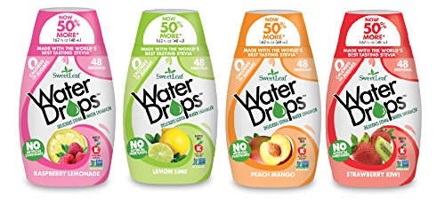 Sweetleaf Stevia Natural Water Drops Variety Pack with Raspberry Lemonade, Lemon Lime, Peach Mango & Strawberry Kiwi (1.62 Ounce Each)