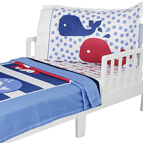 3pc RoomCraft Whale Time Toddler Bedding Set Nautical Stripe