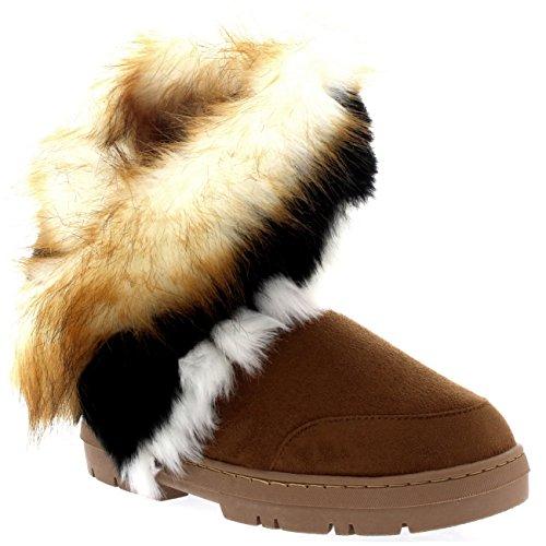 Mujeres Short Tassel Winter Cold Weather Botas De Lluvia Para La Nieve Tan