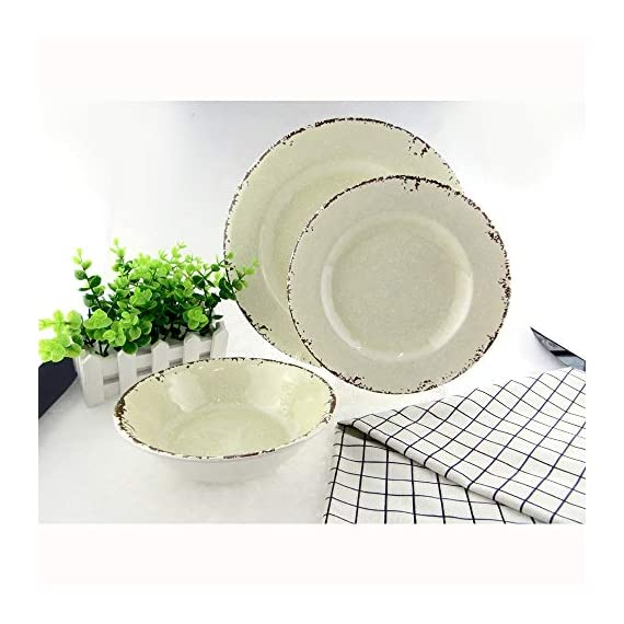 Rustic Style 12-Piece Melamine Dinnerware Dishes Sets,Service for 4,Break-resistant and Lightweight,Ivory -  - kitchen-tabletop, kitchen-dining-room, dinnerware-sets - 51cl f b1jL. SS570  -