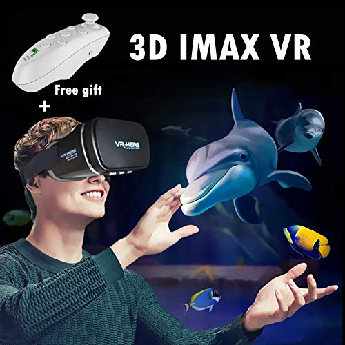 """3D Viewer Headset VR Virtual Reality Glasses, Gafas Realidad Virtuales 3D with Remote Controller(Gift) for Adults Kids to Enjoy 3D IMAX Movies/Games, Fits with 4.0-6.0"""" iOS Android PC Cell Phones ()"""