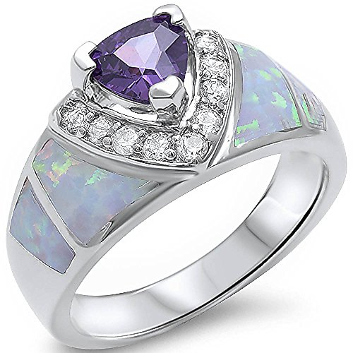 Simulated Amethyst, Lab Created White Opal, Cz New Fashion .925 Sterling Silver Ring Sizes 5-10