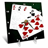 3dRose Alexis Photo-Art - Poker Hands - Poker Hands Full House Ace Ten - 6x6 Desk Clock (dc_270310_1)