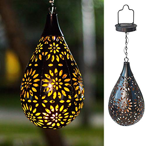 BOAER Hanging Solar Lights Outdoor Garden LED Flower Waterproof Decorative Metal Light for Porch Garden Outdoor (Best Hanging Flowers For Porch)
