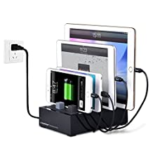 Avantree Desktop Multiple Devices USB Charging Station (Apple Cable NOT Included) 4 Port 8A Fast Charger Docking with Cable Management for iPhone iPad Tablets - PowerHouse Plus Black