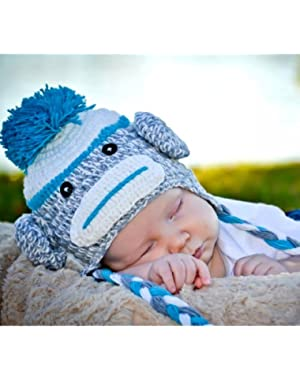 Handmade Baby blue sock monkey Hat in spring color 3-8 year old child