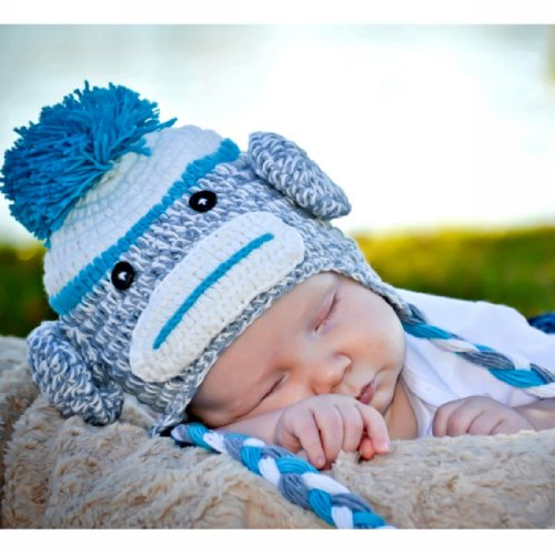 Handmade Baby blue sock monkey Hat in spring color 1-3 year old toddler