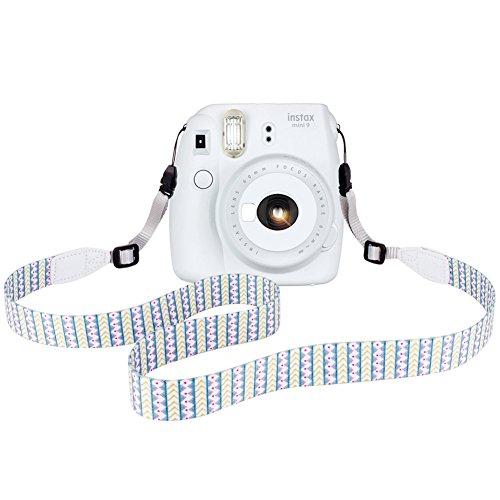 Elvam Camera Neck Shoulder Belt Strap for Men/Women Compatible with Fujifilm Instax Instant Mini 8/8+/9/7s/25/50/90, Digital Camera, Sony, Nikon, Canon, Olympus Etc Mirrorless Camera, Green Pattern