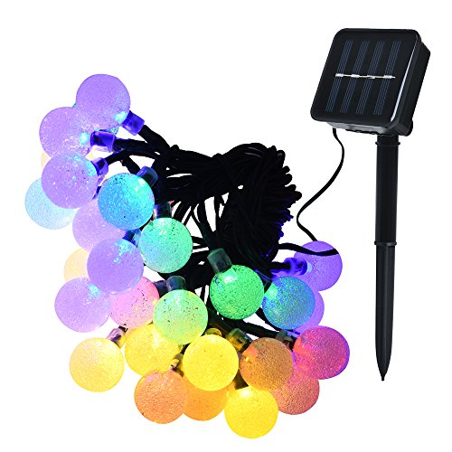 Lareinae Solar String Lights - Solar Lights Outdoor with 30 LED Multi Color Waterproof Fairy Bubble Lamp, for Home, Patio, Lawn, Garden, Party, Wedding, Christmas, Dating, and Holiday Decorations