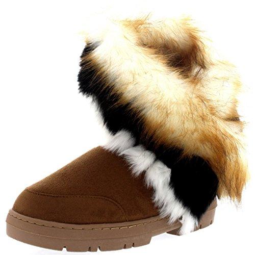Womens Short Tassel Winter Cold Weather Snow Rain Boots - 9 - TAN40 EA0404