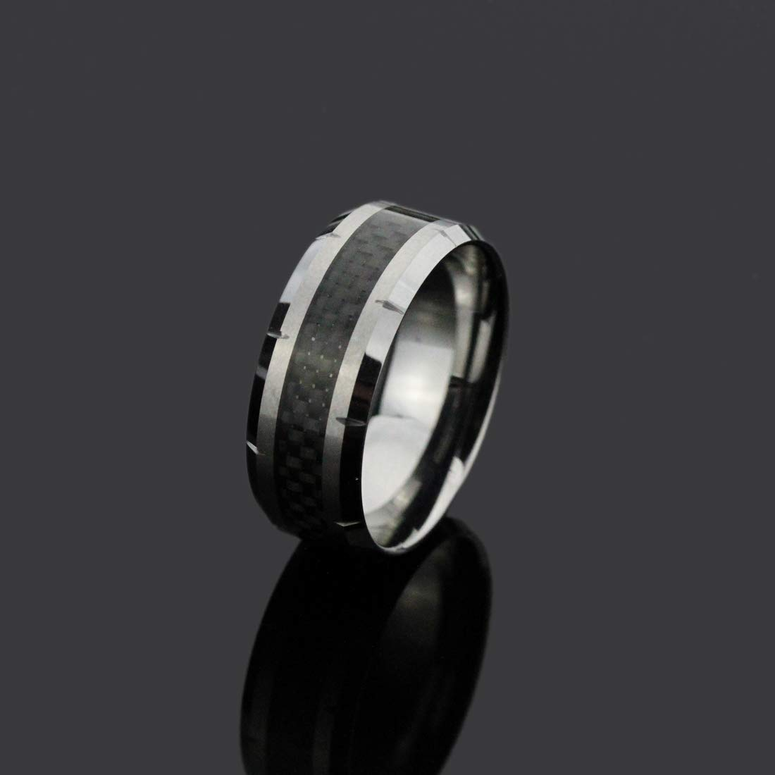 5 to 15 Double Accent 10MM Comfort Fit Tungsten Carbide Wedding Band Black Carbon Fiber Inlay Grooved Tungsten Ring
