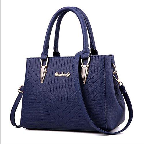 LXYIUN Bolso De Cuero para Mujer,Cremallera Bolso Bolsa De Impresión,Blue Blue