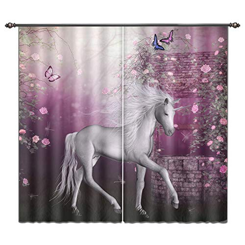 LB Teen Kids Room Darkening Blackout Window Curtains for Living Room Bedroom,Unicorn in Rose Garden Window Treatment 3D Window Drapes 2 Panels Set,28 x 65 inch Length