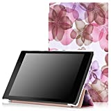 ASUS Memo Pad 7 ME572C Case - MoKo Ultra Slim Lightweight Smart-shell Stand Cover Case With Auto Wake / Sleep for ASUS Memo Pad 7 ME572C 7 Inch 2015 Tablet, Floral PURPLE
