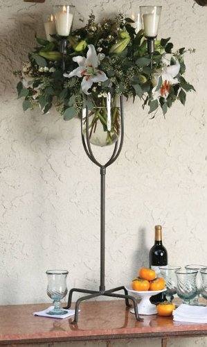 Amazon Tall Iron Multi Candle Footed Centerpiece Vase Large