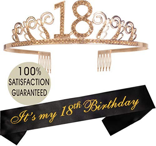 18th Birthday Tiara and Sash | Happy 18th Birthday Party Supplies | It's My 18th Birthday Glitter Satin Sash and Crystal Tiara Birthday Crown for 18th Birthday Party Supplies and Decorations]()