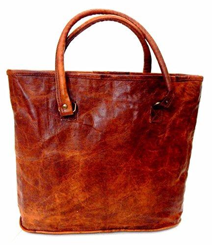 ... Handmade Purse. - 41%. 🔍. Firu-Handmade 16″ Women Vintage Rustic Retro  Style Genuine Brown Leather Tote Shoppers Shoulder 2c8efce6fa2b3
