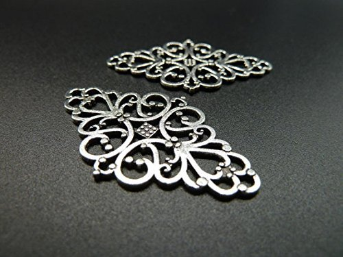 10pcs 25x41mm Antique Silver Lovely Huge Filigree Flower Round Connector Link Base Settings (Round Flower Connector)