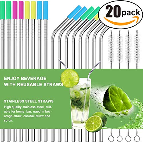 (AROIC Straws-16 Set of 16 Stainless Steel Ultra Long 10.5 Inch Drinking Metal Straws for Tumblers Rumblers Cold Beverage (8 Straight|8 Bent|4 Brushes), 20Pack)