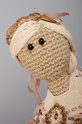 Large crochet doll of grey and brown colors