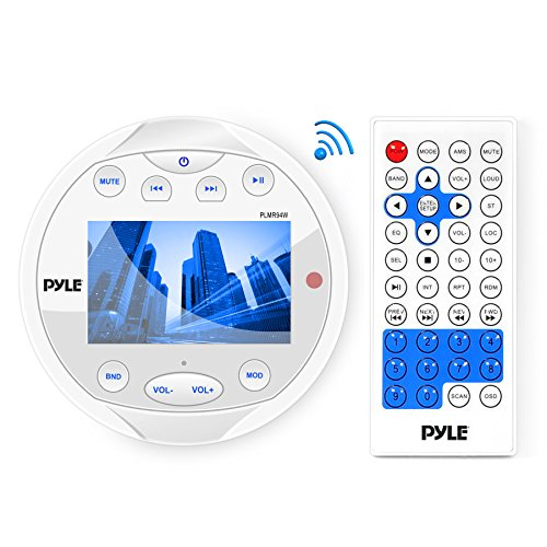 Pyle Round Waterproof Marine Radio - 4 x 28 W Aquatic Boat in Dash Gauge Stereo Receiver with Bluetooth, AM FM, Digital LCD, USB, AUX, RCA - Wiring Harness, Bracket, Remote Control - PLMR94W (White)