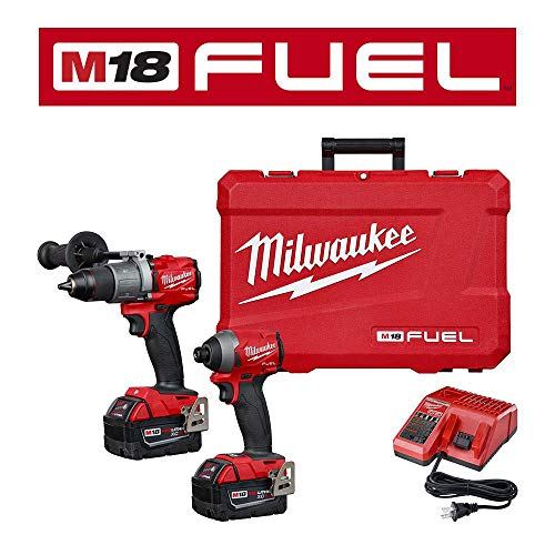 Milwaukee M18 FUEL 18-Volt Lithium-Ion Brushless Cordless Hammer Drill & Impact Driver Combo Kit (2-Tool) W/Free 5.0Ah Battery