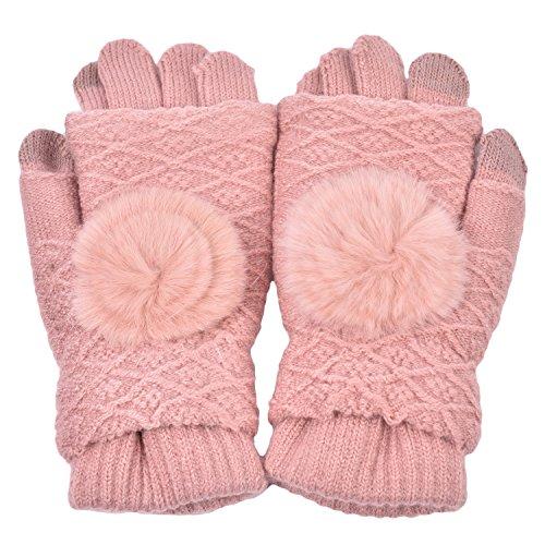 Pink Womens Glove (Woogwin Womens Lady Winter Warm Touchscreen Knit Gloves 1 Full-Finger Plus 1 Fingerless Gloves (Pink))