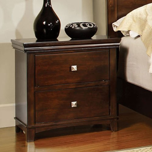 Dunhill Transitional Style Brown Cherry Finish Nightstand (Nightstand Brown Finish)