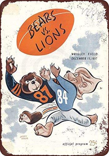 Joeaney New Tin Sign Aluminum Retro Chicago Bears Vs Detroit Lions 1957 Program Metal Sign 8 X 12 Inch