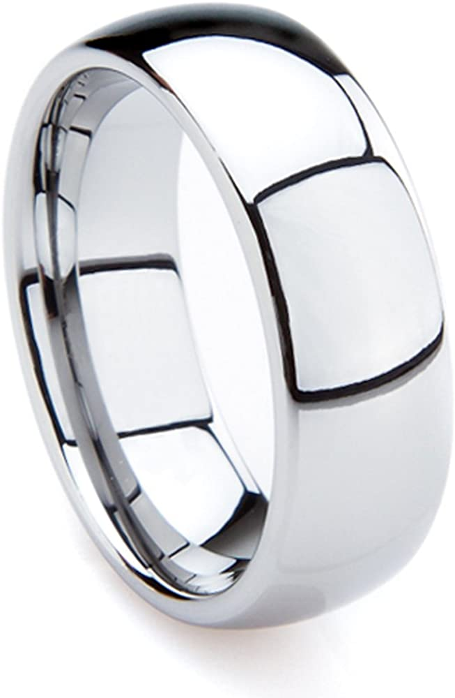 Tungsten Metal 7mm Men S Polished Plain Dome Wedding Band Ring Size 7 15 Amazon Com