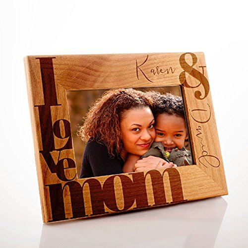 Lily's Atelier Personalized, Mother's Day, Horizontal and Vertical Wooden Picture Photo Frame, Mothers Day, 4x6   5x7   8x10 (Photo Wooden Personalized)