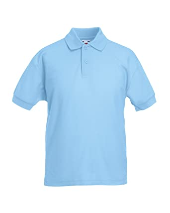 Fruit Of The Loom Kids Childrens 65/35 Pique Polo Shirt Sky Blue 9-