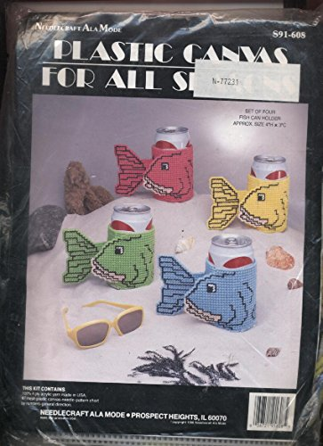 Plastic Canvas Needlepoint Kit Fish Can Holders Set of 4