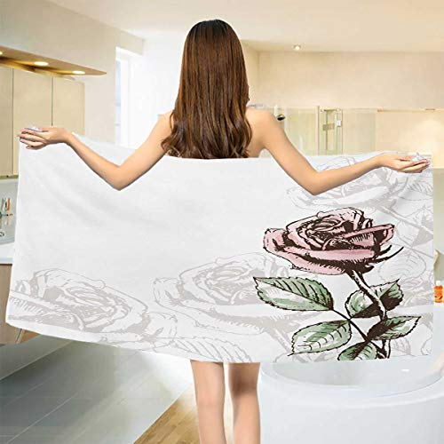 (Chaneyhouse Rose,Bath Towel,Victorian Antique Design Sketchy Stem with Blossom and Faded Flourish,Bathroom Towels,Pale Green Pale Pink Brown Size: W 27.5