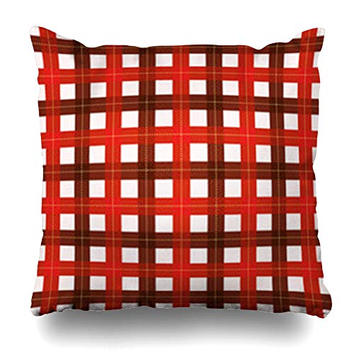 (NOWCustom Throw Pillow Cover Square Size 20 x 20 Inches Fiber Wallace Tartan Scottish Plaid Wool Pattern Red Black Yellow Zippered Pillowcase Home Decor Cushion Case)