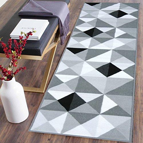 Adgo Collection, Modern Contemporary Rectangular Design Rubber-Backed Non-Slip (Non-Skid) Area Rugs  Thin Low Profile Indoor/Outdoor Floor Rug (2' x 7', Silver4) - Rectangular Rug