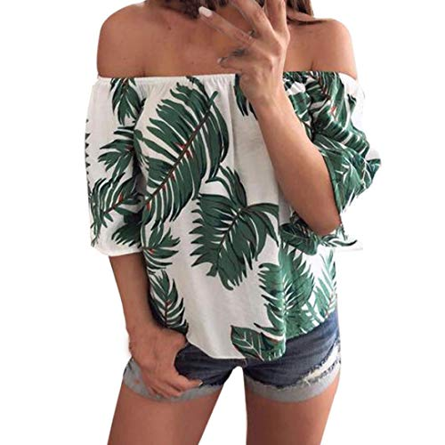 Clearance One Shoulder Top T-Shirt Duseedik Fashion Women Off Shoulder Leaves Printed Blouse Casual Tops T Shirt - Official Xlt Shirt