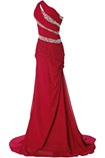 WAWALI One Shoulder Drape Womens Chiffon Evening Party Prom Dress