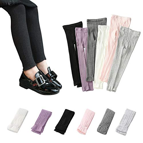 (Girls Footless Leggings Knit School Tights Baby Toddler Lace Trim Bootcut Spring/Fall Pants 1-8 Years (Black, M 3-5 Years))