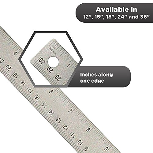 24 inch Stainless Steel Metal Ruler 2 Pack- 24 inch High Grade Flexible Stainless Steel Ruler with Non Slip Cork Base for Excellent Precision and Accuracy (2 Pack) by Breman Precision (Image #3)'