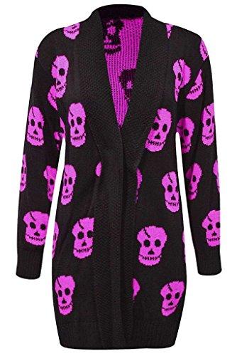 RM Women Ladies Halloween Skull Skeleton Print Open Front Knitted Cardigan -