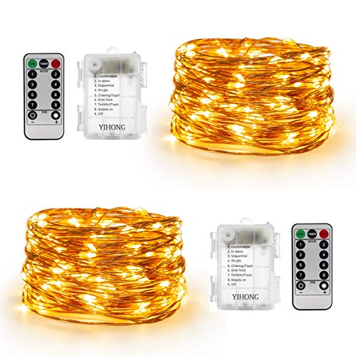 YIHONG Set of 2 Fairy String Lights Battery Operated -16.5ft 50 LEDs  Twinkle Firefly Lights with Timer Remote Control - Copper Wire- Warm White