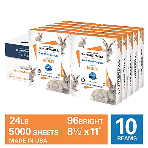 Hammermill Fore Multi-Purpose 24lb Copy Paper, 8.5 x 11, 10 Ream Case, 5,000 Sheets, Made in USA, Sustainably Sourced From American Family Tree Farms, 96 Bright, Acid Free, 103283C