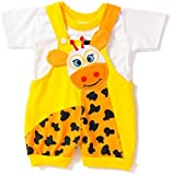 Miss U Baby Boys cotton Dungaree set (Yellow, 0-6 months)