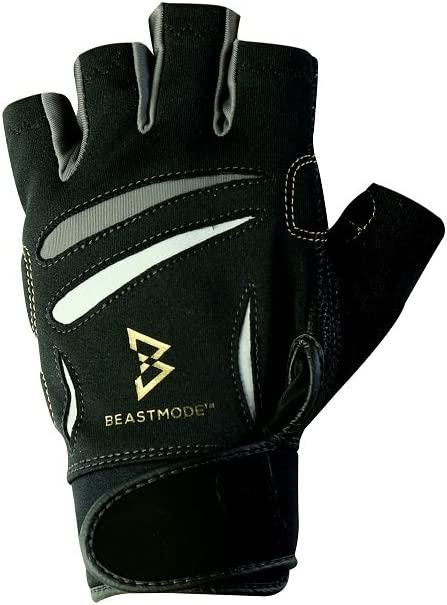 The Official Glove of Marshawn Lynch - Bionic Gloves Beast Mode Men's Fingerless Fitness/Lifting Gloves w/ Natural Fit Technology, Black (PAIR)