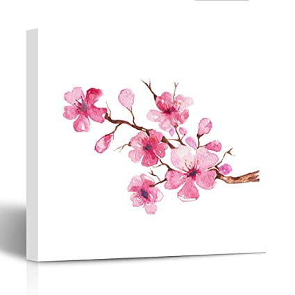 Amazon emvency painting canvas print wooden frame white flower emvency painting canvas print wooden frame white flower branch of cherry blossom watercolor painting pink tree mightylinksfo