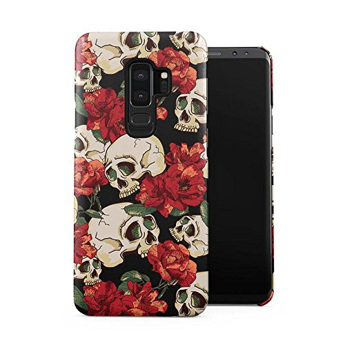 Grunge Skeleton Skulls Pattern Roses Wildflower Floral Hipster Plastic Phone Snap On Back Case Cover Shell Compatible with Samsung Galaxy S9 Plus