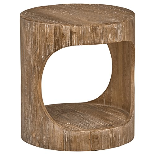 "Stone & Beam Miramar Elm Wood Cutout Side End Table, 19.7""D, Natural"