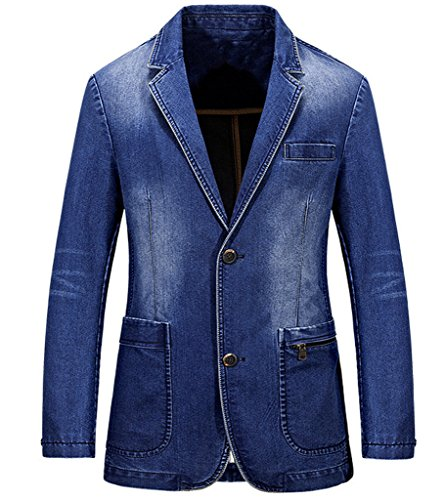 Rlouw Mens Washed Denim 2 Buttons Jacket Suit Blazer Light Blue